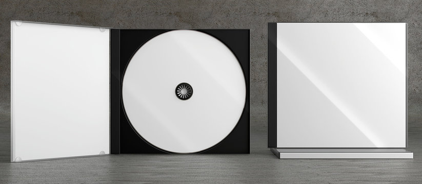 CD DVD Disc plastic box mockup. Front view.