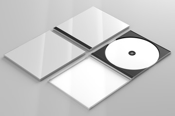 CD DVD Disc plastic box mockup. Perspective view.