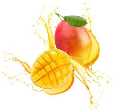 mango in juice splash isolated on a white background