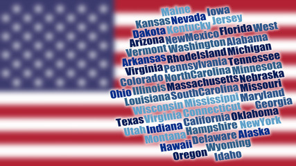 USA State Names on blurred Flag