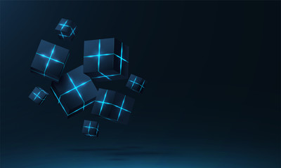 Vector realistic 3d cubes with neon parts compose on dark space background