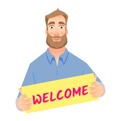 man holding welcome sign
