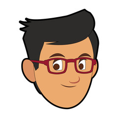 Man face cartoon with accesory vector illustration graphic design