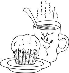 Hand Drawn Doodle Sketch Line Art Vector Illustration of Cupcake with Icing on Plate Mug of Hot Piping Coffee Tea. Food Poster Banner Black Outline Design Element Template