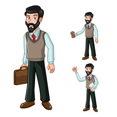 Businessman Beard Vector Illustration