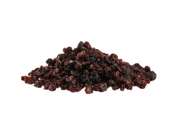 Dried black cherries heap isolated on white