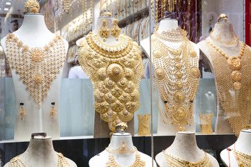 DUBAI,UAE - FEBRUARY 2018: gold and jewel are sold in the Dubai souk. Gold souk consists of 300 retailers.