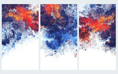 Blue and red artistic splashes. Abstract cold painting pattern. Bright texture for creative graphic design. Futuristic set backgrounds for poster, cover booklet, banner. Fractal art