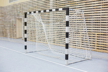 Gates for mini football. Hall for handball