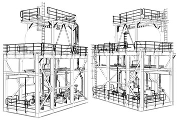 Air Compressor Technology Construction Vector