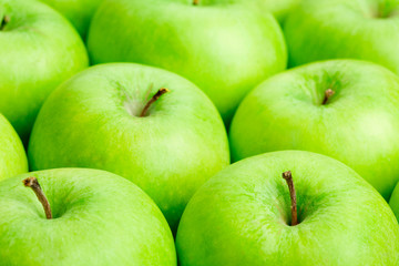 close up of green apples background