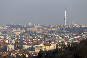 Sunny freezy winter Prague City with its Cathedrals, historical Buildings and Towers, Czech Republic