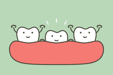 tooth growing up from gum and other teeth are smiling, first tooth concept