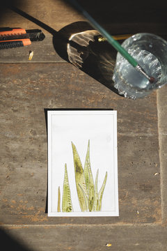Watercolor painting of a plant