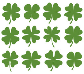Set of green vector four leaf clover silhouette drawing for icons, cards and for Saint Patrick's day designs