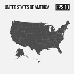 map of USA with regions EPS 10