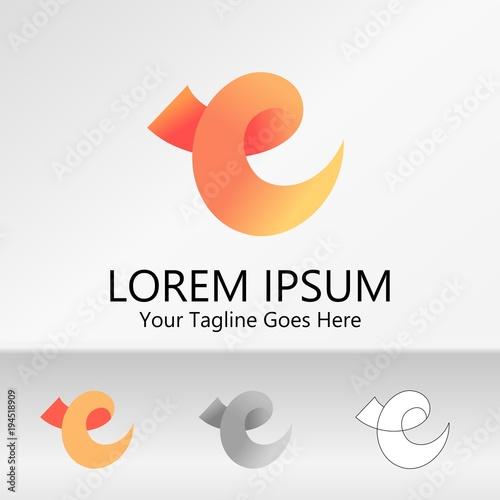 Orange Letter E Logo .Creative Vector Template Logo Design Ideas for ...