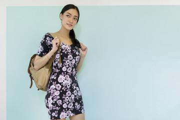 Asian girl with shoulder bag