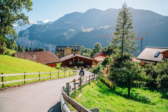 Wengen village and alps nature view in Switzerland