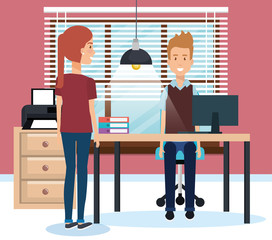 couple working in the office vector illustration design