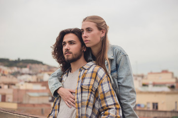 Portrait of a young couple in the city