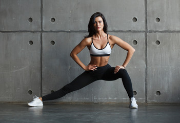 fitness female doing stretching exercise
