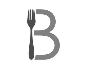 typography fork cutlery tableware image vector icon
