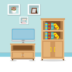 television room place house vector illustration design
