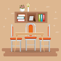 elegant dinning room scene vector illustration design