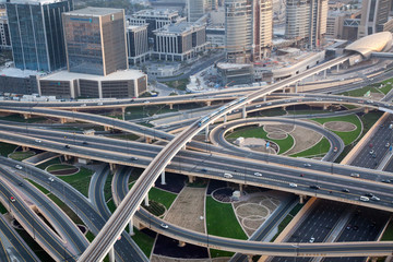 aerial view of busy traffic on sheikh zayed road intersection, Dubai - futuristic city