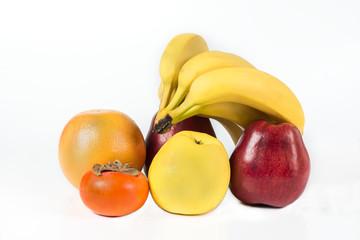 Group of fresh fruits isolated on white background