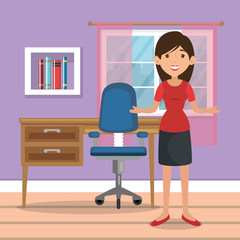 woman in home Office place house vector illustration design