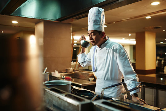 Master chef tasting food