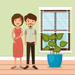 family parents in house place scene vector illustration design