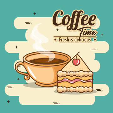 delicious coffee time elements vector illustration design