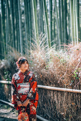 Young Women in Kimono at Bamboo Forest, Kyoto