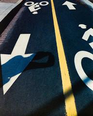Bike path with photographers shadow