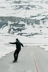 Skateboarder Hillbombing