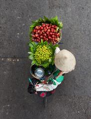 Overlooking the streets of women selling fruit, Vietnam Hanoi