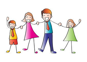 Cartoon of happy family holding hands