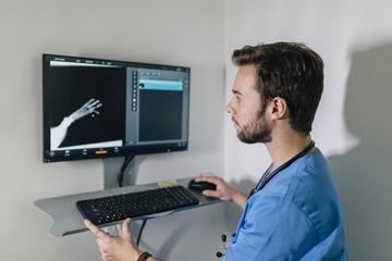 Veterinary examining a dog's x-ray
