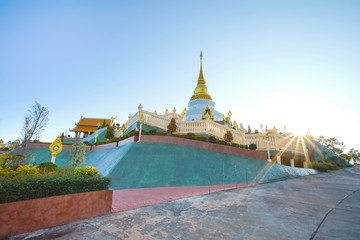 Beautiful pagoda in Wat Phra Thad Santidham temple.