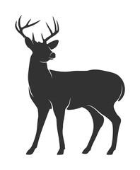 Fototapeta premium Sylwetka jelenia z rogami na białym tle