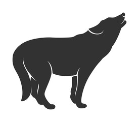 Silhouette of the wolf on a white background