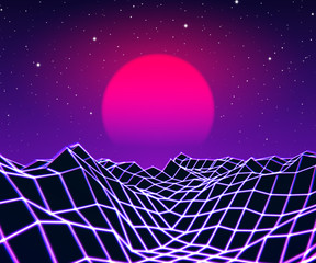 Canvas Prints Violet Neon grid landscape and sun with 80s game style