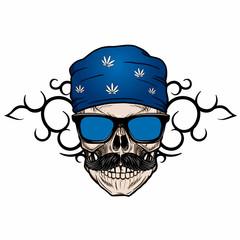 biker hipster skull wearing bandana with tribal background
