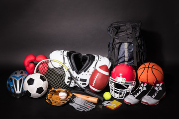 Close-up Of Various Sport Equipments