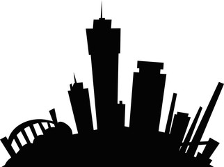 Cartoon skyline silhouette of the city of Hamilton, Ontario, Canada.