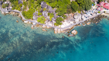 Aerial view on the wooden bridge to Lighthouse,koh Phangan island,Thailand