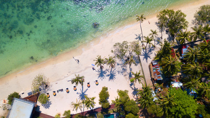 Aerial view from the drone on the sand beach of Haad Rin area in koh Phangan island,Thailand